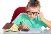 Boy with glasses expects his building society — Stock Photo