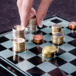 Stock Photo: Chessboard with Euro coins