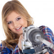 Stock Photo: Blonde girl with drill
