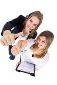Two girls show sign — Stock Photo