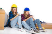 Two girls relax after work — Stock Photo