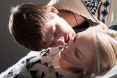 Amo o casal a beijar — Fotografia Stock
