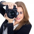 Blonde girl photographed by camera — Stock Photo