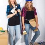 Two working girls — Stock Photo