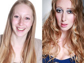 Blonde girl before and after makeup — Stock Photo