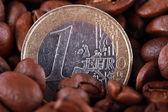 Coffee beans EUR — Stock Photo