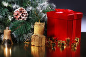 Christmas card with red gift — Foto Stock