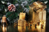 Christmas card with gold gift — Foto Stock