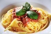 Pasta with meat, tomato sauce and vegetables — Stock Photo