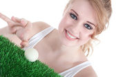 Golfball woman — Stock Photo