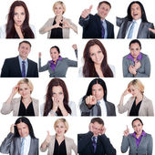 Collage with emotions of a business team — Stock Photo