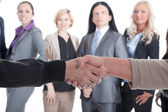 Handshake on the background of business team — Stock Photo