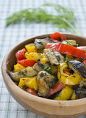Stewed eggplant and bell pepper — Stock Photo