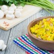Rice with saffron and champignons  — Stock Photo