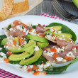 Постер, плакат: Salad with avocado anв prosciutto