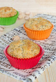 Three pistachios muffins — Stock Photo