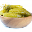 Pickles in a wooden bowl — Stock Photo