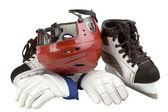 Helmet, leggings, skates — Stock Photo