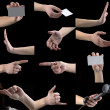 Set of gestures, hands, fingers — Stock Photo