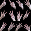 Set of gestures, one, two, three, four, five, — Stock Photo