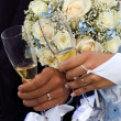 Bride and groom holding hands at wedding glasses — Stock Photo #18988483