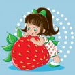 Stock Vector: Girl and strawberry