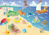 Animals on the beach — Stock Vector