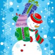 Snowman with gifts — Stock Vector