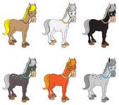 Set of horses — Stock Vector