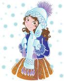 Winter girl — Stock Vector