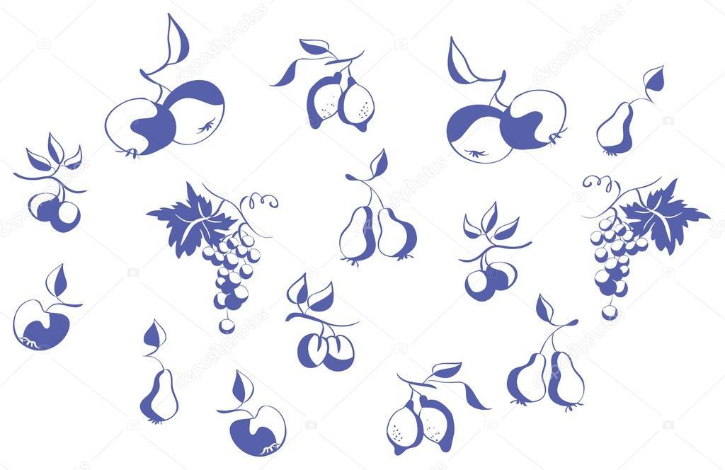 套的轮廓水果— 矢量图片作者
