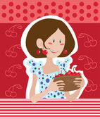 Girl with cherries — Stock Vector