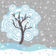 Stock Vector: Winter tree