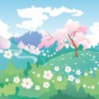 Landscape with cherry blossom — Stock Vector