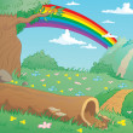 Landscape with rainbow vector — Stock Vector