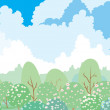 Royalty-Free Stock Vector Image: Spring garden, landscape under cloud