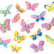 Stock Vector: Set of fifteen butterflies