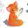 Kitten with spoon, five versions — Stock Vector