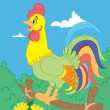 Cock with color contour — Vector de stock #14068347