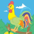 Cock with color contour — Stock Vector