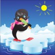 Little penguin with lollipop - Stock Vector