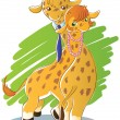 Sweet couple giraffes — Vector de stock #14069511