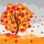 秋のりんごの木 — ストックベクタ