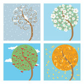 Cherry tree seasons — Stock Vector