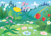 Landscape with flowers and strawberries vector — Stock Vector