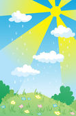 Landscape with rain through sunshine — Stock Vector