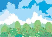 Summer garden under cloud — Stock Vector