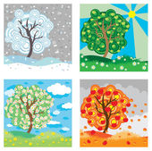 Apple tree seasons — Stock Vector