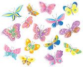 Set of fifteen butterflies — Stock Vector