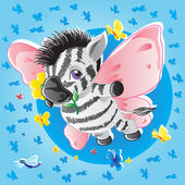 Zebra-butterfly — Stock Vector